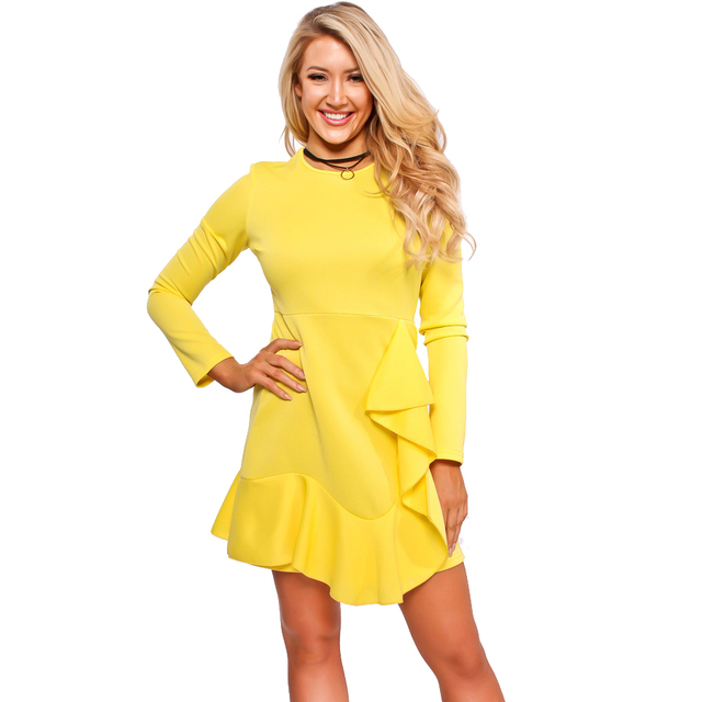 bdf1334bb07d3 US $14.01 32% OFF|Echoine 2018 New Yellow Ruffles Short Dress Summer Women  O Neck Long Sleeves Dress Fashion Casaul Bodycon Dresses Vestido-in Dresses  ...