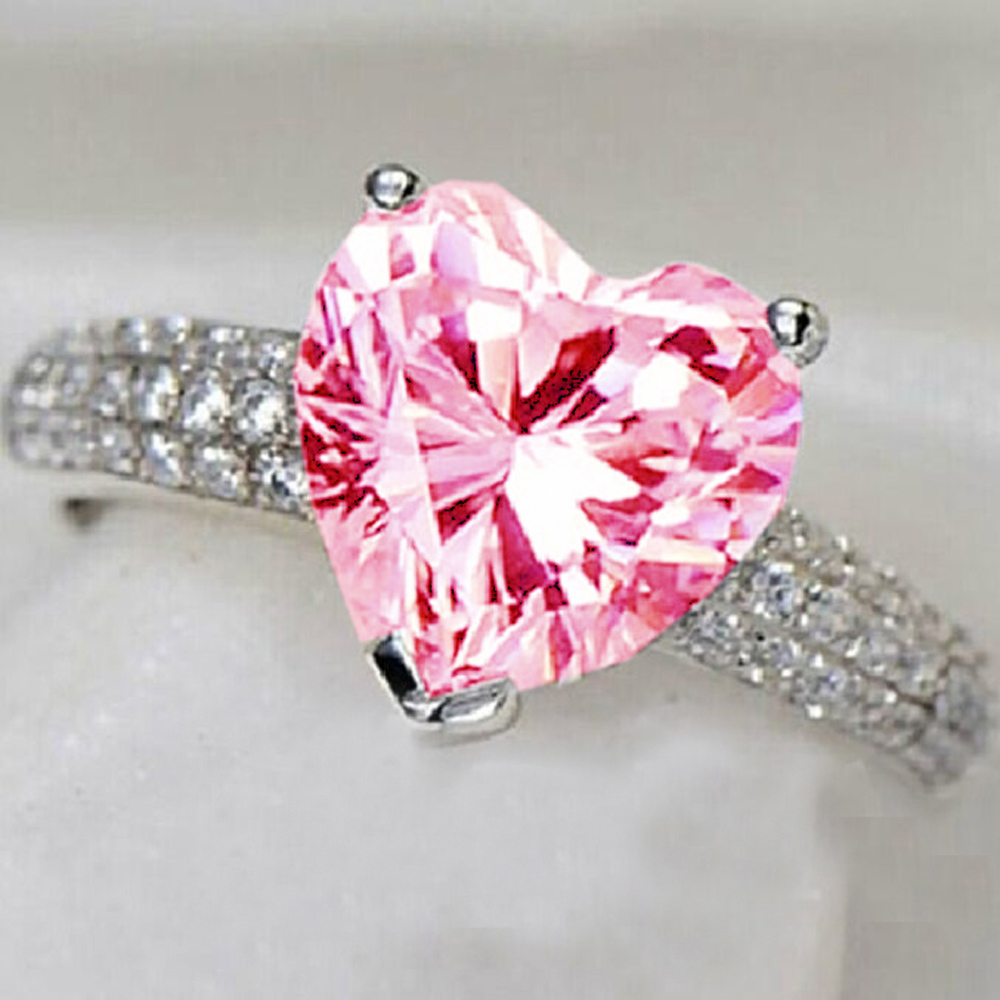 india jewelry pink wedding ring promotion pink wedding rings YaYI Fashion Women s Jewelry Ring Heart Pink Zircon CZ Silver Color Engagement Rings wedding Rings Party Rings
