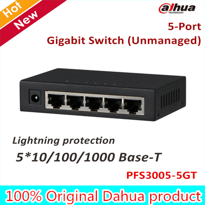 Dahua Export version POE Switch PFS3005-5GT 5 Ports Gigabit Switch Unmanaged Lightning protection Plug and play DC 5V 0.6A цена