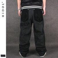 Qualité Denim Jean Coton Mens Poche Flocage Broderie Lion HIP-HOP Lâche Baggy Pantalon Noir De Mode Planche À Roulettes HipHop Hip Hop