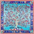 90cm*90cm New Fashion Silk Square Scarf Women Imitated Silk National Wind Tree and Elephant Printed Scarves Shawl Hijab
