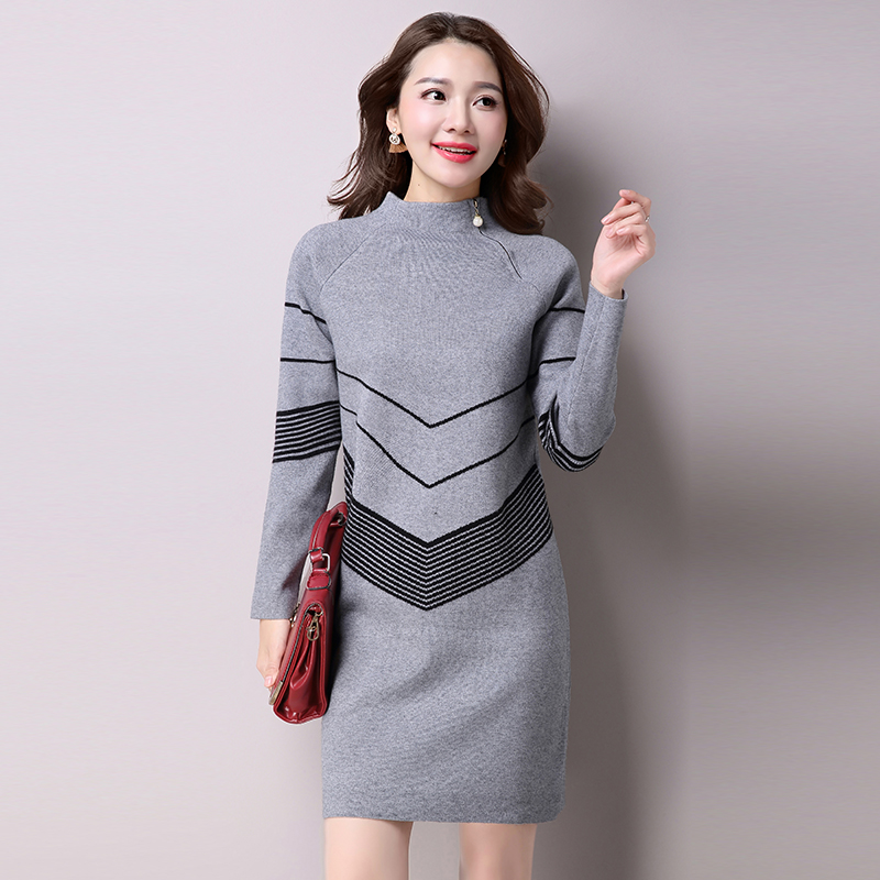 2018 Korean Fashion Women Warm Knitted Sweater Dresses