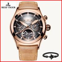 2019 New Reef Tiger Luxury Brand Sport Watches Genuine Leather Rose Gold Tourbillon Automatic Waterproof Watch Men Saat RGA7035