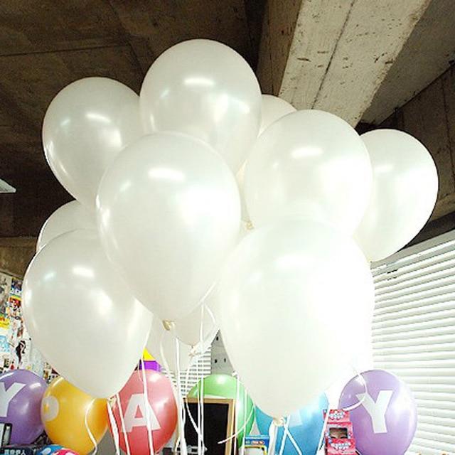 Bezpłatny Statku 100 sztuk/partia 10 Cal 1.2g Biały Snow White Wedding Party Balony Hel Inflable Ballon