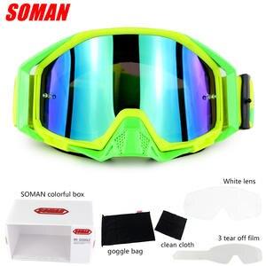 SOMAN SM13 Motocross Goggles Glasses + Extra Clear Lens Oculos Cycling MX  Off Road 226eccbcc8
