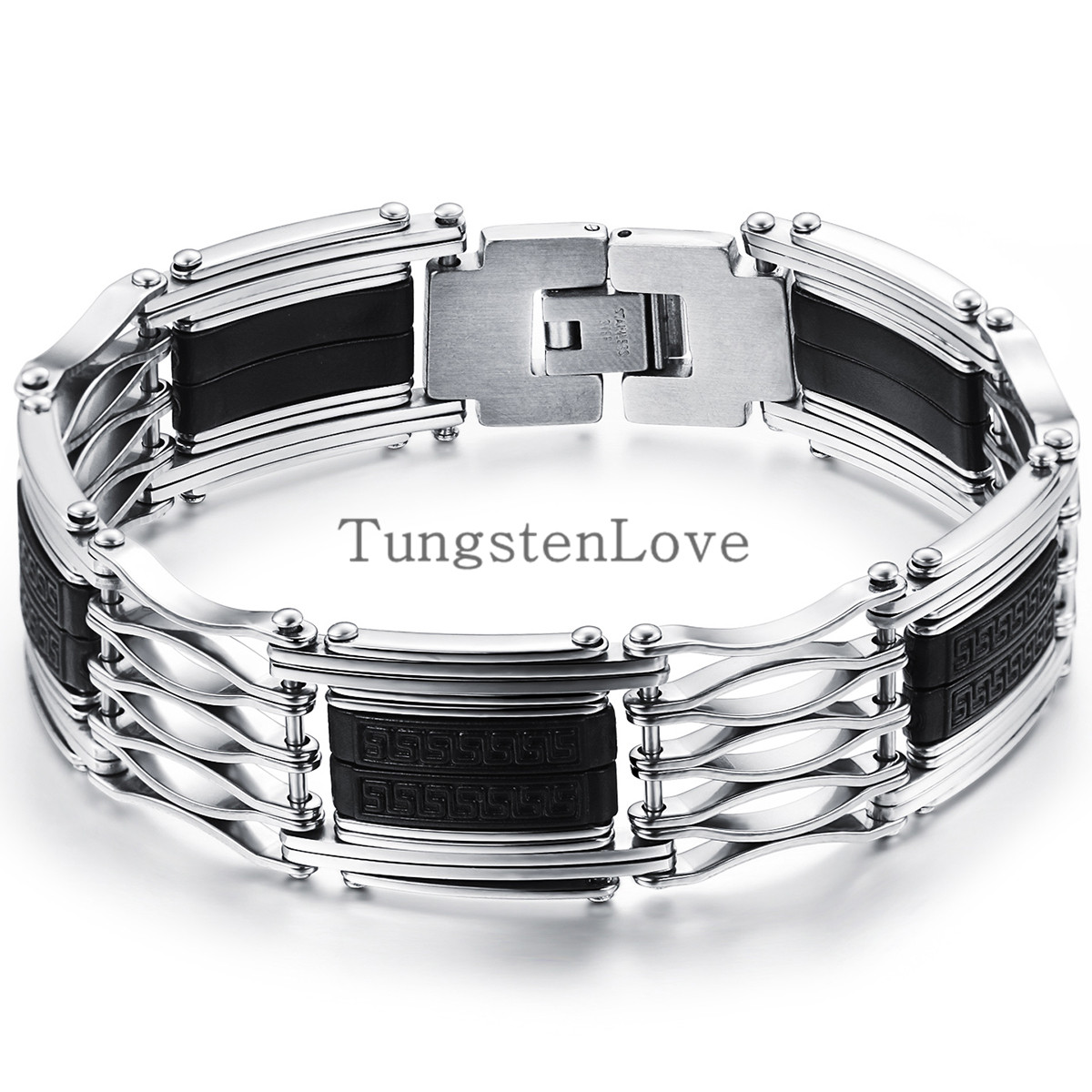 225cm Fashion Mens Stainless Steel Bracelets With Black Silicone Wholesale  2015 New Arrived Metal Bracelet