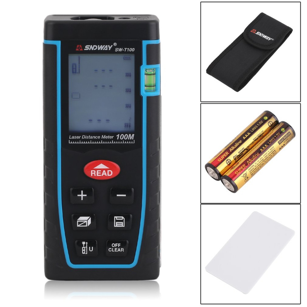 SNDWAY SW-T100 Professional Digital Laser Distance Meter Rangefinder Build High Accurate Measure Device Ruler Test Tool high quality southern laser cast line instrument marking device 4lines ml313 the laser level