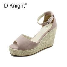 e8df8c088 Venda quente Plataforma De Salto Alto Sandálias de Cunha Senhoras Concisa  Casuais das Mulheres com Tira