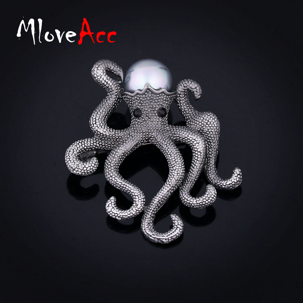 Mloveacc Vintage Unique Octopus Brooches for Women Kids Retro Simulated Pearl Brooch Pins Ladies Fashion Scarf Jewelry Accessory