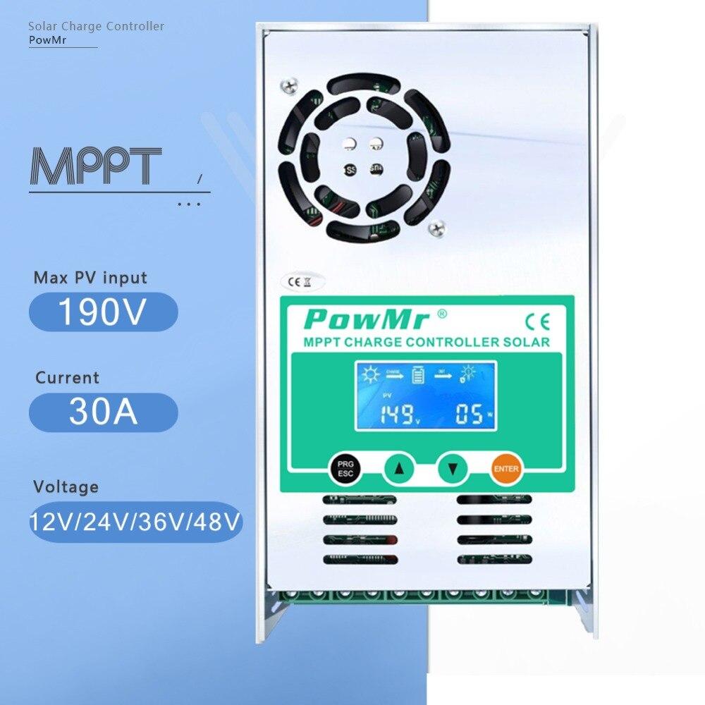 MPPT 30A Solaire Charge de La Batterie Contrôleur 12 v 24 v 36 v 48 v Auto Rétro-éclairage LCD Solaire régulateur de Charge 30A pour Max 160 v DC Entrée