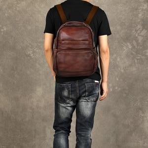 Image 2 - Mochila de cuero de vaca de primera capa para hombre, bolso para ordenador portátil, sencilla, salvaje, a la moda, 15,6
