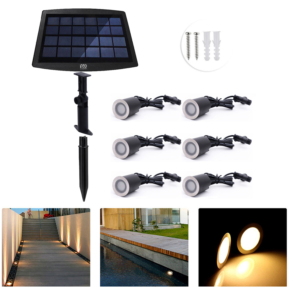 YWXLight 6PCS Solar Deck Lights Outdoor IP67 Waterproof Solar Garden Light Sensing Garden Paths Underground Lamp LED Floor Light outdoor lighting solar powered panel led floor lamps deck light 3 led underground light garden pathway spot lights