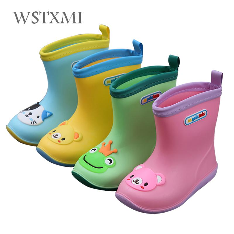Rain Boots Kids For Boys Girls Rain Boots Waterproof Baby Non-slip Rubber Water Shoes Children Rainboots Four Seasons Removable(China)