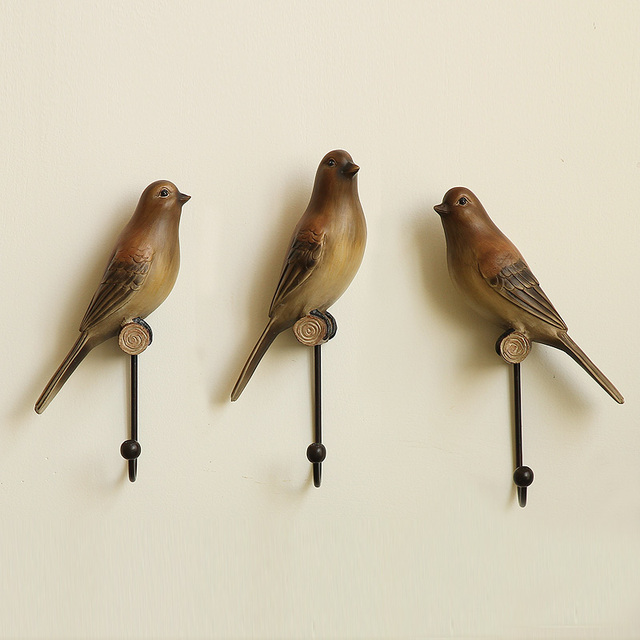 3PCS/SET American Country Style Bird Robe Hooks Creative Resin Decorative  Wall Hooks Hangers For