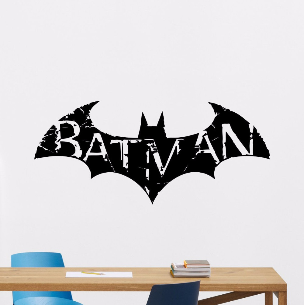 Batman Wall Decals Superhero Vinyl Sticker Bedroom Wall Decals Removable Kids Dark Knight Wall
