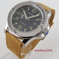 44mm parnis mostrador preto caixa de aço inoxidável super marcas luminosas marca luxo data movimento automático relógio masculino