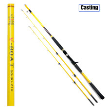 SHUNMIER 1.8m 2.1m Casting Jigging boat trolling Fishing Rod Carbon Vara de Pesca 2 tips Tackle Canne Pole peche olta Yellow