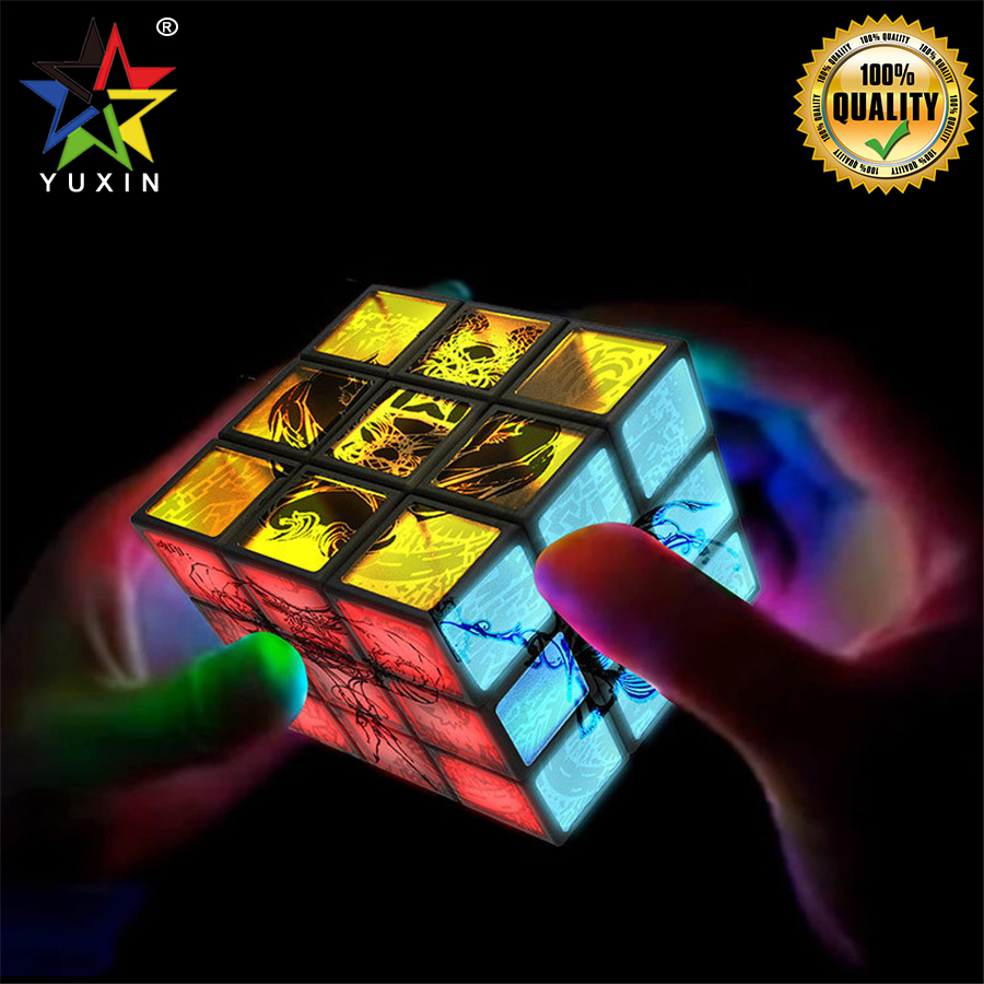 2019 YUXIN clignotant 3x3x3 Cube magique magnétique 3x3 vitesse Cube Puzzles torsion Puzzle jouets pour enfants cadeau Puzzle Cubes magnétiques