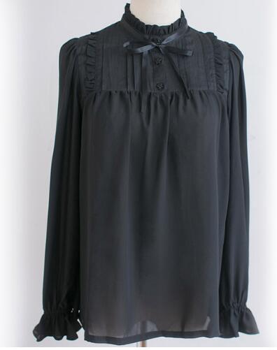 font b Classic b font Sweet Ruffled High Collar Long Sleeve Black White Chiffon Girl