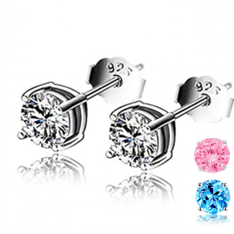 Simple Stud Earrings For Women 4-5mm S925 Sterling Silver Fine Jewelry Cubic Zirconia Bridal Wedding Engagement Brincos