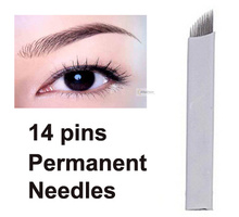 30pcs Eyebrow 14pins Permanent Makeup Needles For Eye Tattoos Prong Flat Blades 3d Microblading Embroidery