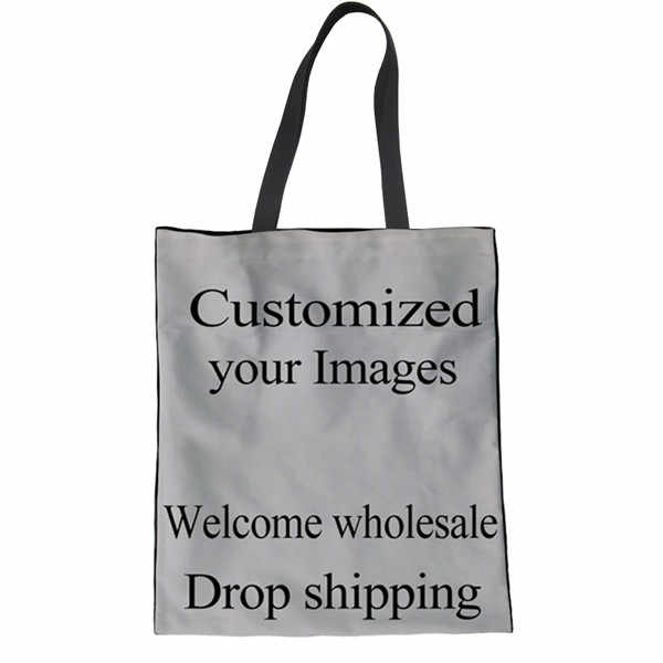 FORUDESIGNS Custom Picture or Logo Shopping Bags for Women Female Tote  Canvas Shoulder Bags Girls Reusable 1b94a1de3478b