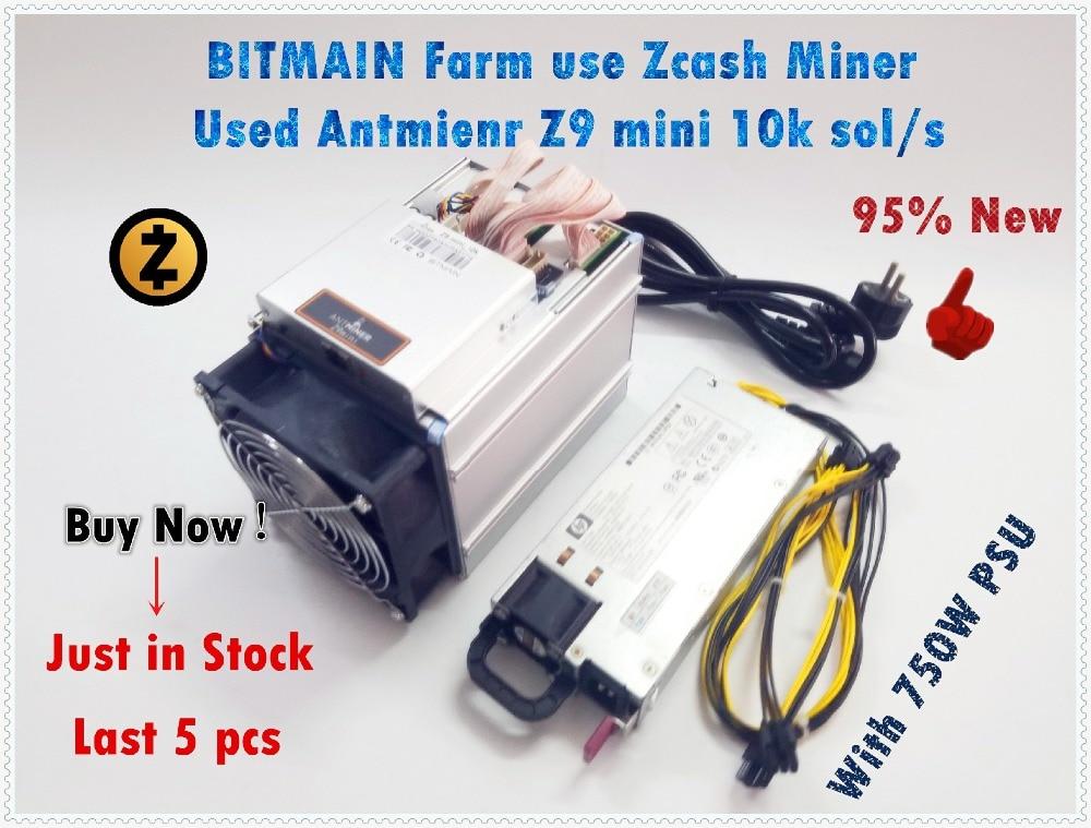 ZCASH Miner Bitmain Antminer Z9 Mini 10k Sol/s 300W Asic Equihash Miner с 750W блок питания корабль в течение 24 часов может достигать 14K