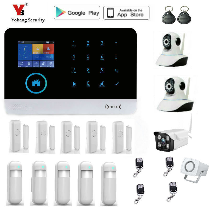 Yobang Security 2.4 inch WIFI GSM Alarm Systems WIFI+GSM Wifi Automation GSM Alarm System Home Protection WIFI GSM Alarm System купить в киеве gsm прослушку