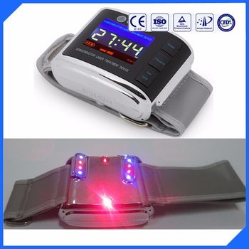 LLLT laser watch for blood clean to reduce hypertension and diabetes Red and blue wrist watch 650nm laser therapy watch therapeutic laser for high blood pressure blood clean wrist watch healthcare priceless