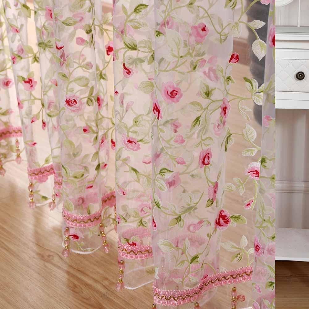 2016 caliente rosa moderna tela de tul para ventanas cortina