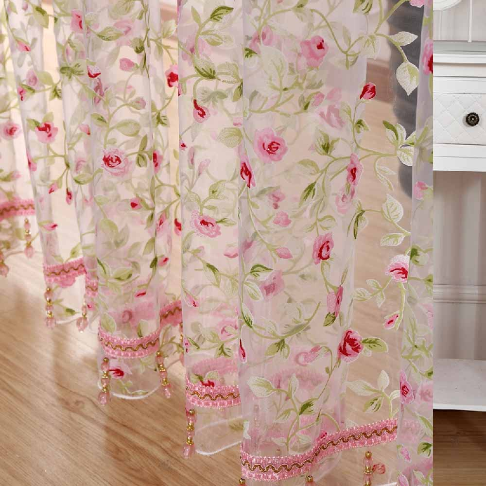 2016 Hot Rose Modern Tulle For Windows Shade Sheer Curtains Fabric For Kitchen Blinds Living