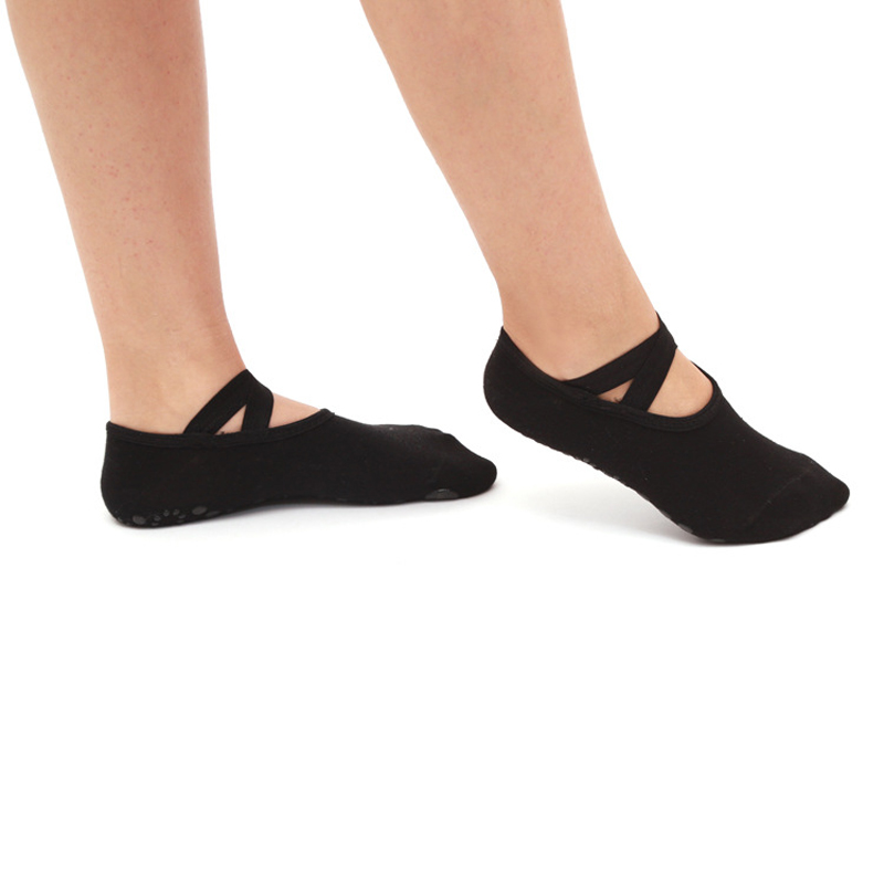 Women Cross Bandage Yoga Socks Pilates Ballet Dance Anti Slip Socks Gym Fitness Sport Cotton Socks Comfortable Non Slip Silicone