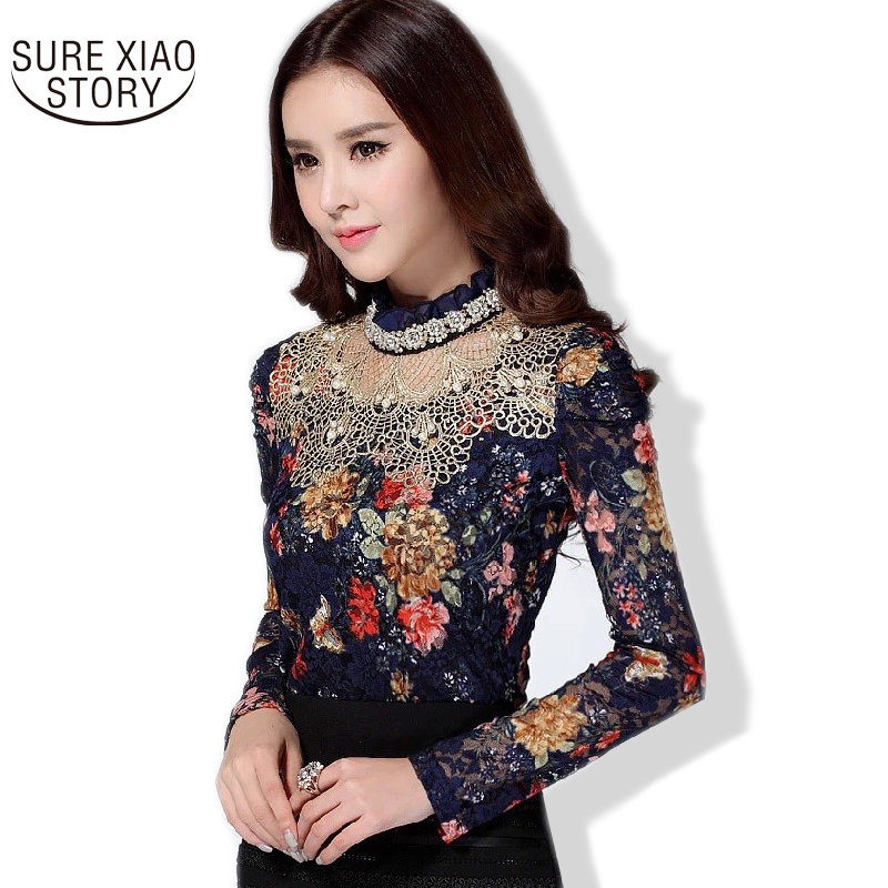 NEW 2018 Women Floral Lace   blouse     shirt   fashion casual long sleeve   blouse   Diamond beaded lace   shirt   women tops clothes 136C 24