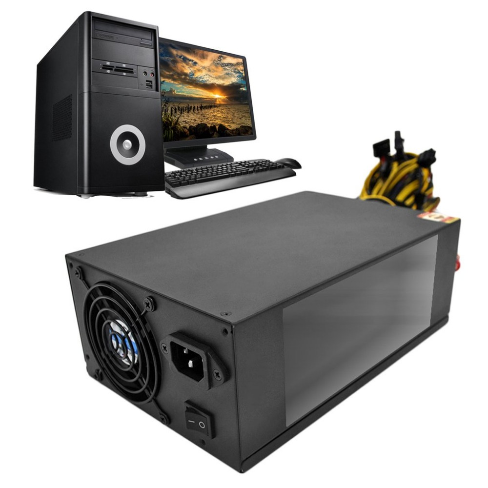 2018 High Efficiency Rated 2200W Power Supply with EMC with Dual 8CM Low Noise Cooling Fans for Bitcoin Mining Machine dual usb cooling fans