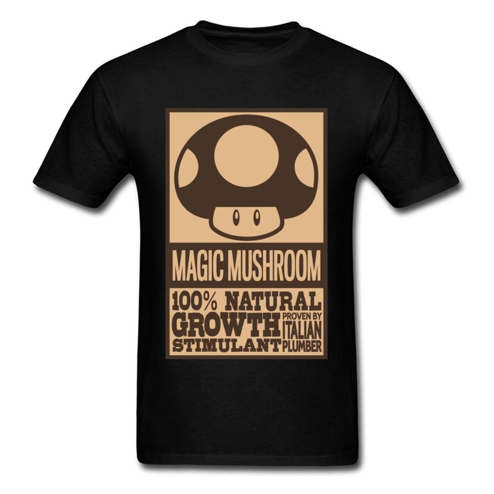 Funny Italian Magic Mushroom T-shirts For Men 2018 Short Sleeve Tees Black Top Shirt Cartoon Letter Poster Print