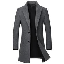 Высококачественная Зимняя шерстяная куртка для мужчин, шерстяная смесь, Повседневная тонкая верхняя одежда, черное шерстяное пальто для мужчин, casaco masculino, длинный плащ