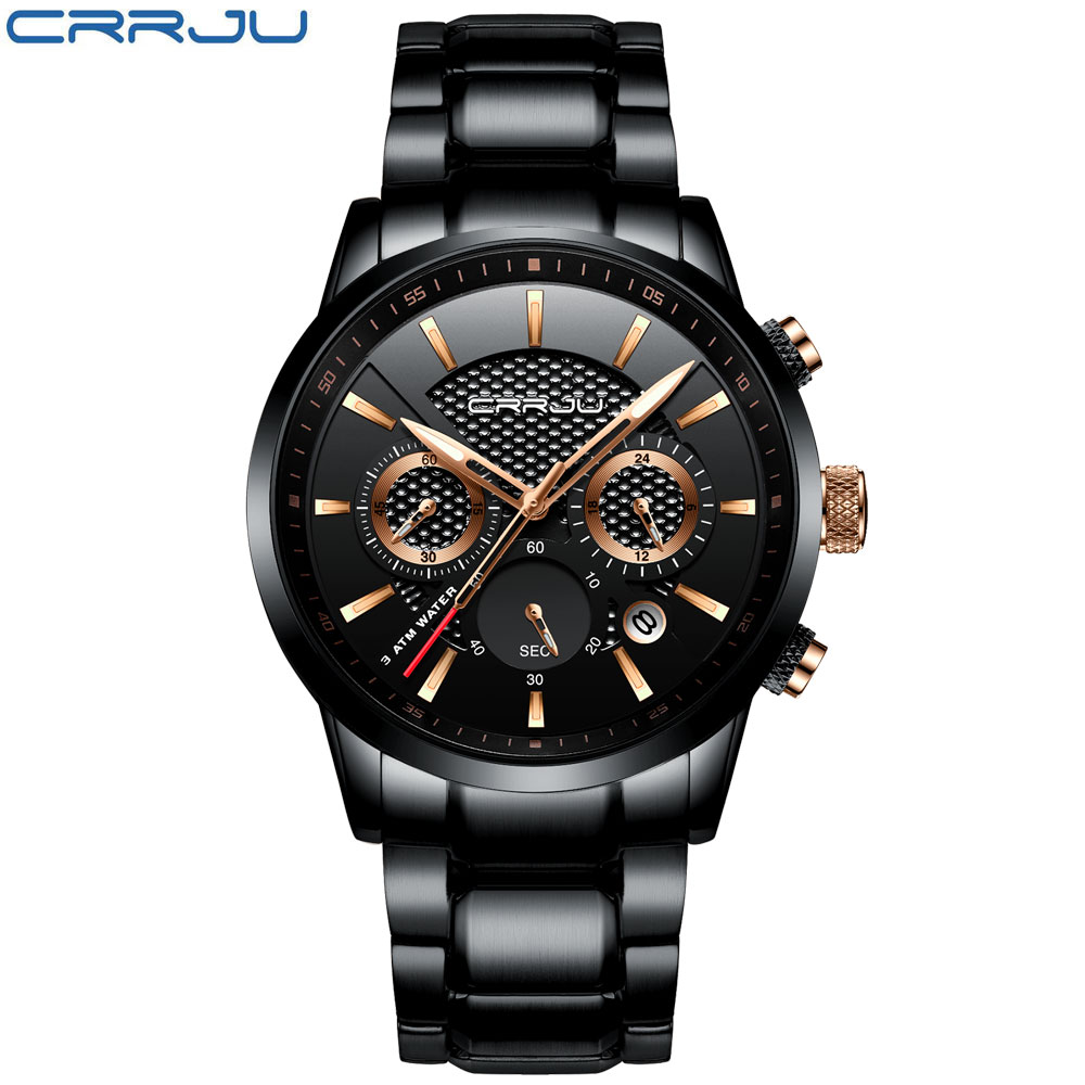 Image 2 - CRRJU Mens Watch 30m Waterproof Fashion Mens Watches Top Brand Luxury Steel Watch Chronograph Male Clock Saat relojes hombrehombrehombre reloj  -