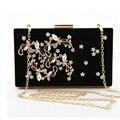 2016 New high quality ladies diamond flower shoulder bag velvet women clutch bag Corduroy small box bag chain messenger bag