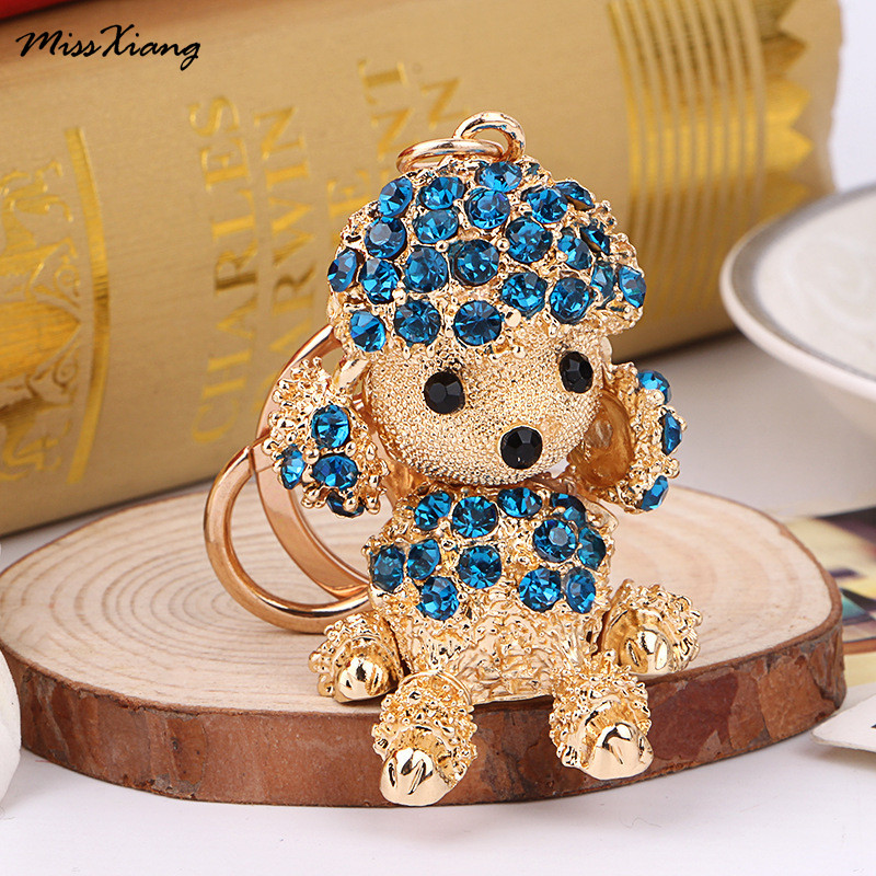 New Lucky Smile Dog Crystal Rhinestone Keyrings Key Chains Holder Purse Bag For Car Christmas Gift Keychains Jewelry Llaveros