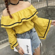 Sailor Girl Cute Off Shoulder Blouse Big Ruffles Shirt Women Tops Sexy Kawaii Chemise Femme Camicia Donna Blusa Y Camisa Mujer