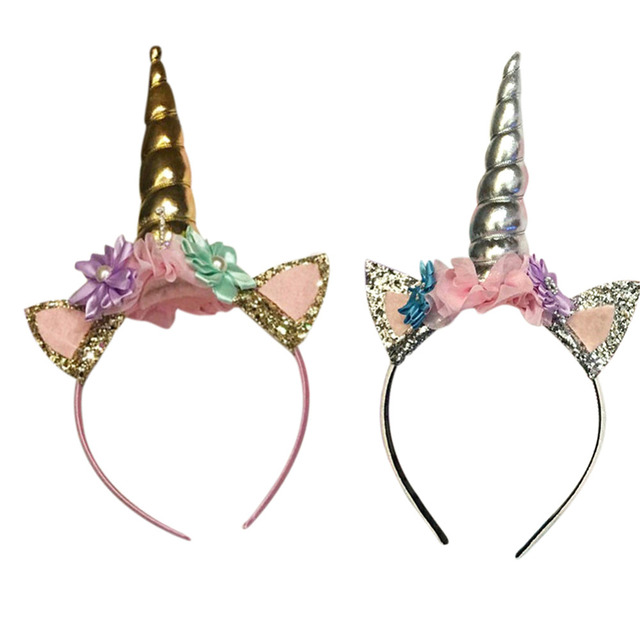 8ff06bf9b US $3.55 |Baby Boy Girl Magical Gold Silver Unicorn Birthday Hat Baby Hair  Accessory Party Hair Headband Decorative Photography Props Gift-in Hair ...