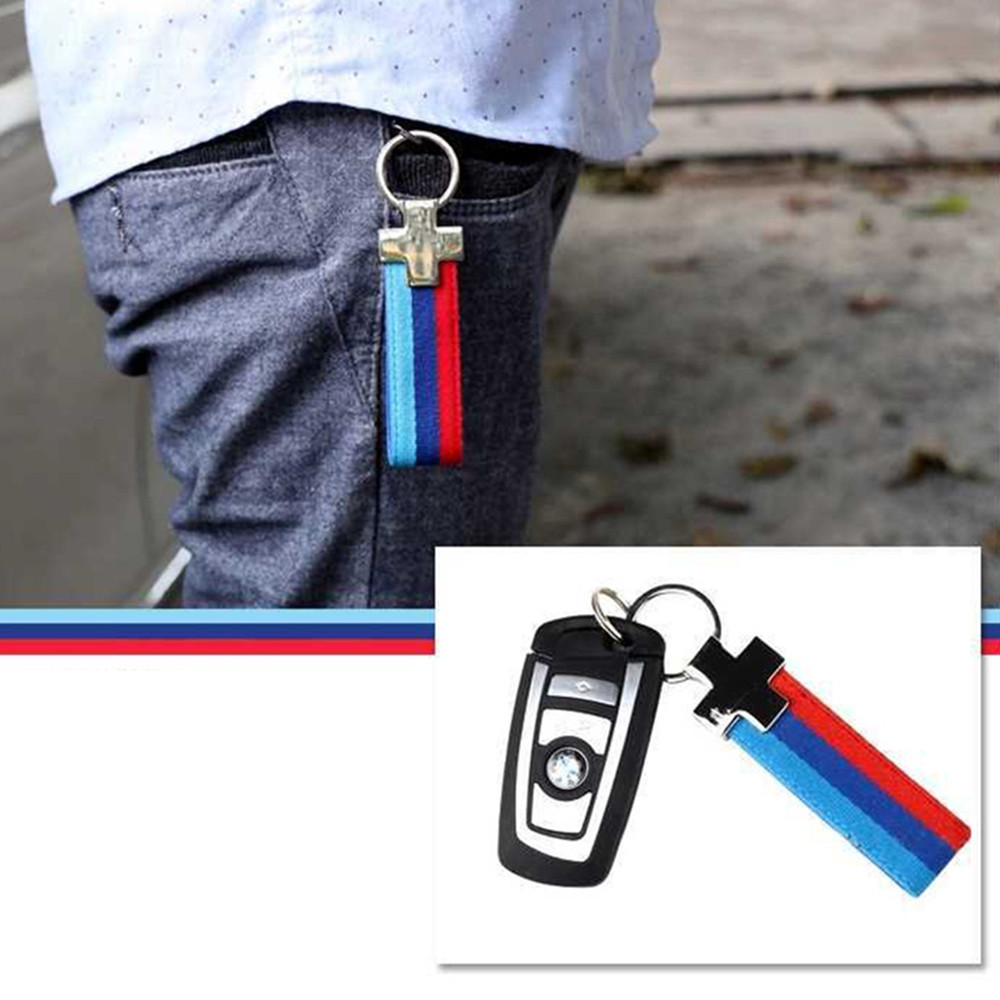 Car Keychain German flag tri-color ribbon metaltri-color ribbon metal For <font><b>BMW</b></font> Key Chains aist advertising key ring image