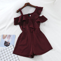 2019 new fashion women's jumpsuits casual loose loose strapless sexy high waist wide leg striped jumpsuit