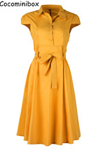 Cocominibox Women's Vintage Cotton Flare Dress Belted Short Sleeve Polo Collar Shirtdress Ball Gowns