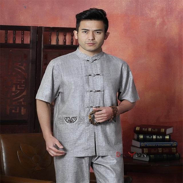 2015 Fashion Trends Gray Men's Linen Shirt Top Chinese Vintage Mandarin Collar Kung Fu Tang Suit Free Shipping M L XL XXL XXXL