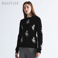 BAHTLEE 2018 autumn winter women's Merino wool Anti pilling pullovers sweater strapless Jacquard weav robot pattern black