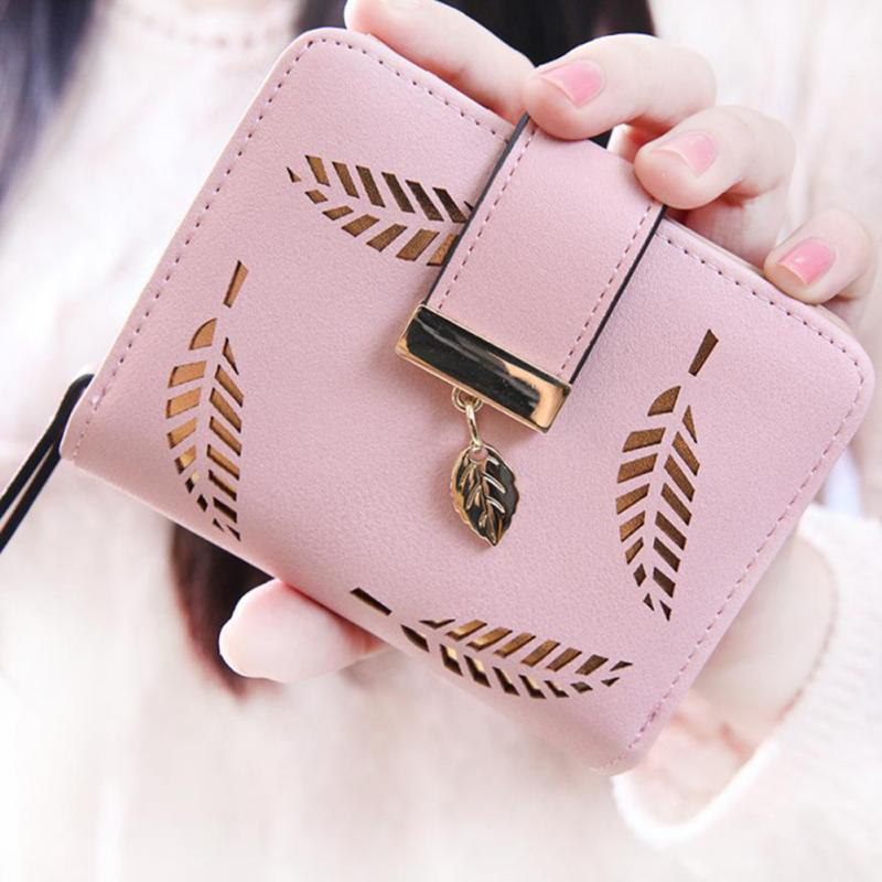New Fashion Female Wallet Short Hollow Leaf Women Wallet Lady Small PU Leather Purse Girl Card Holders Wallet 2016 new arriving pu leather short wallet the price is right and grand theft auto new fashion anime cartoon purse cool billfold