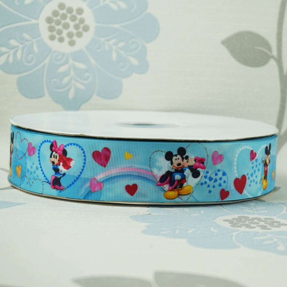 Dobro Sales Promotion 1-1/2 38mm Love Hearts Mickey Minnie Printed Grosgrain Ribbon DIY Hairbows Baby/Childrens Crafts 100Y