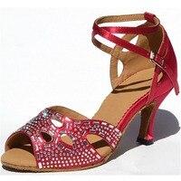 Dancing Shoes Tan Heel Height 4.5 8.5 cm Satin Latin Dance Shoes Size US 4 11 Comfortable Zapatos de baile For Women JYG468