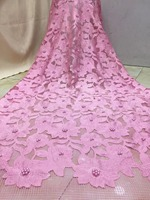 Latest African Laces Fabrics Embroidered High Quality French Lace beads Fabric Cheap Nigerian Net tulle Lace Fabric